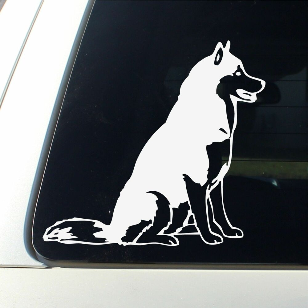 Vinyl Window Decals : Funny sled dog siberian husky silhouette car truck window