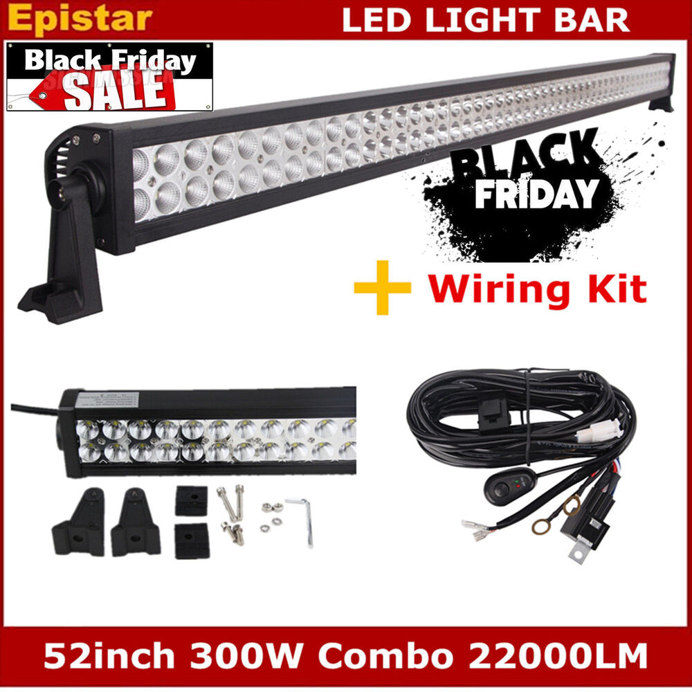 52 inch 300w led light bar combo beam with wiring harness. Black Bedroom Furniture Sets. Home Design Ideas