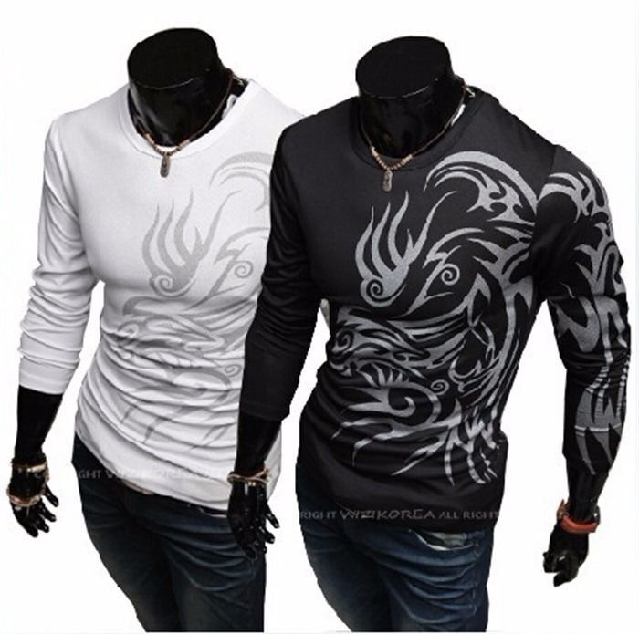 Mens Cool Dragon Tattoo Slim Fit Stylish Shirt Long Sleeve