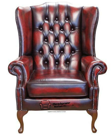 Chesterfield prince s flat wing queen anne high back chair oxblood leather ebay