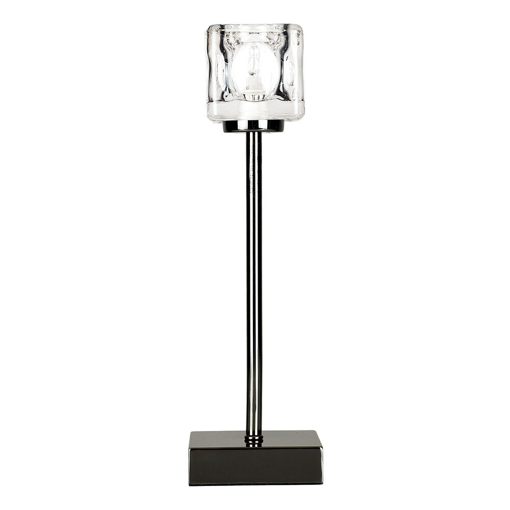 Contemporary black chrome touch table lamp ice cube glass shade bedside light ebay - Black touch lamps bedside ...