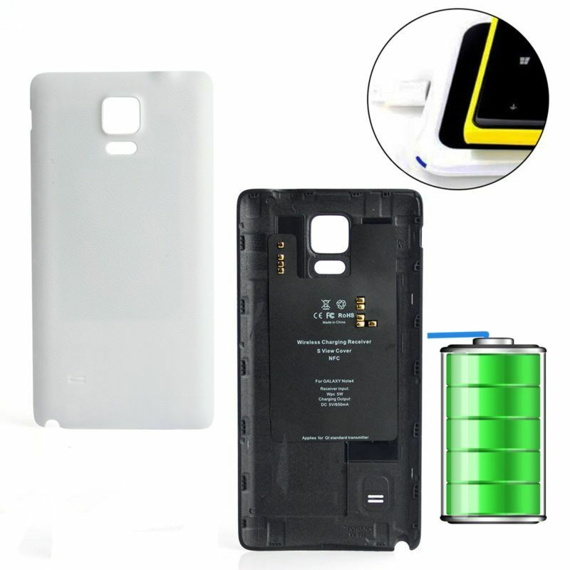 samsung galaxy note 4 n9100 wireless battery back cover case charger receiver ebay. Black Bedroom Furniture Sets. Home Design Ideas