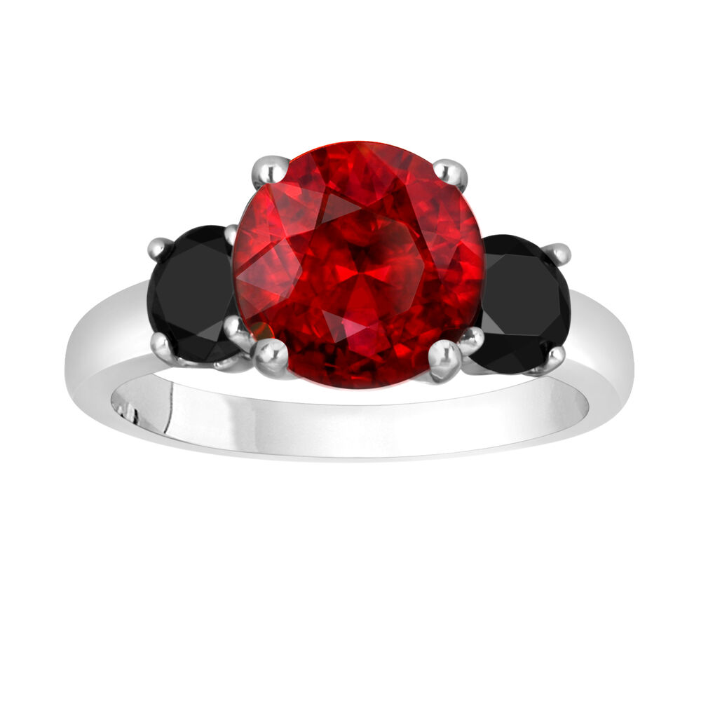 Garnet And Enhanced Black Diamonds Three Stone Engagement Ring 14k White Gold