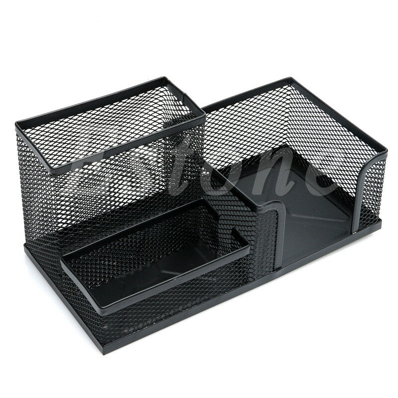 Desk organizer metal black mesh style desktop office pen - Over the desk organizer ...