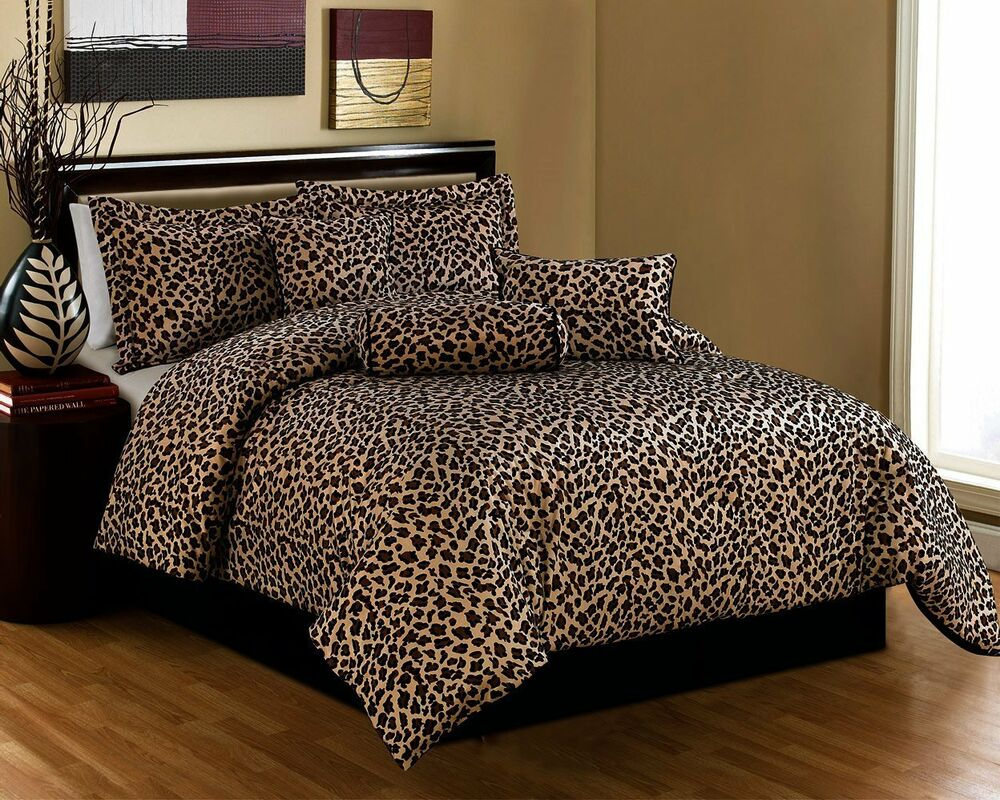 Luxury 7 Piece Safari Leopard Print Micro Fur Bedding