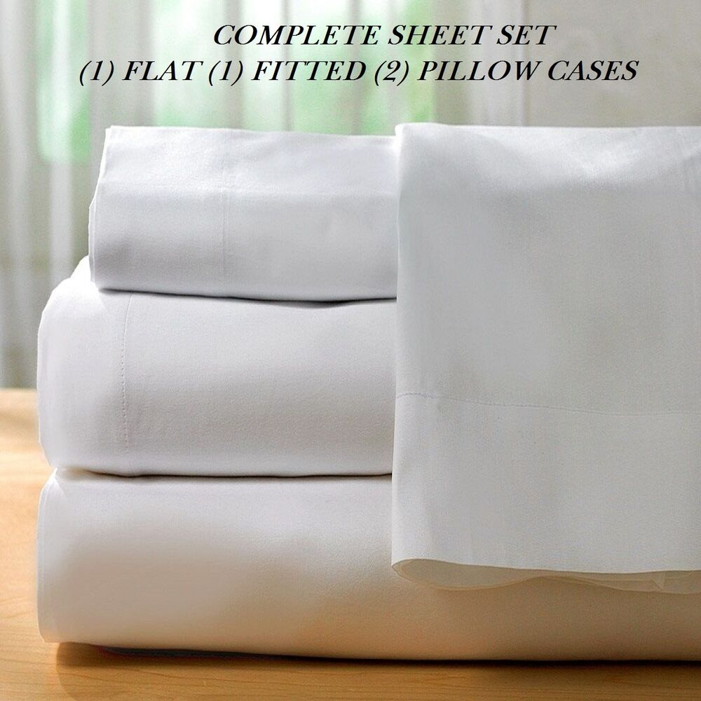 1 New White Cotton Queen Size Sheet Set T200 Percale Best