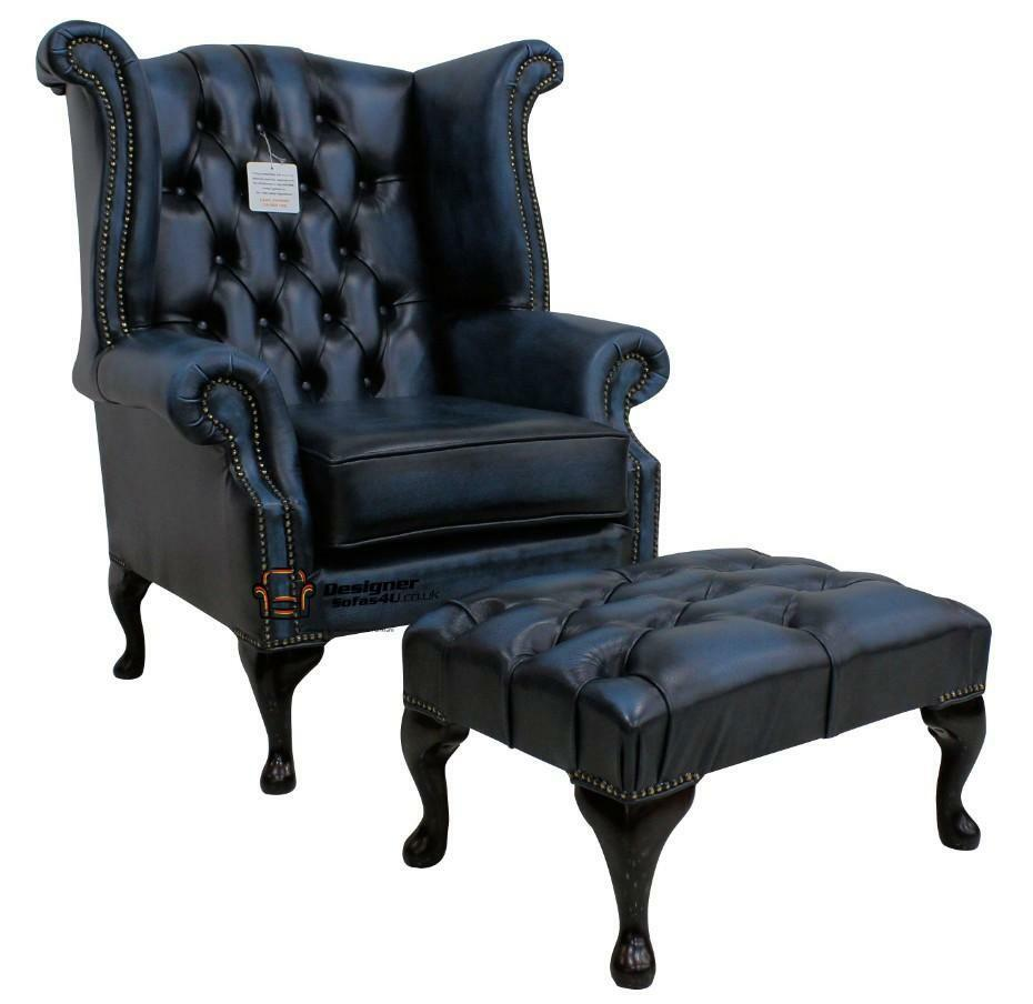 Chesterfield Queen Anne Wing High Back Chair Antique Blue