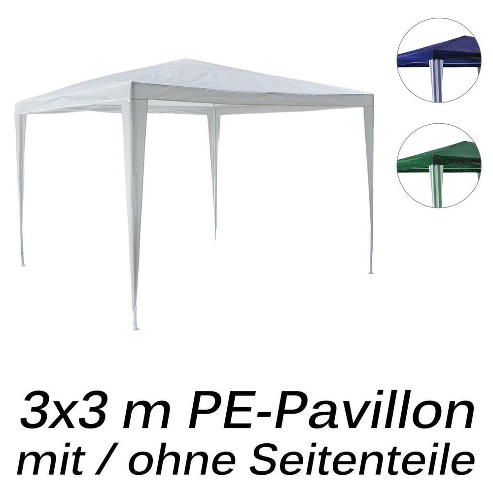 pavillon pe 3x3m gartenzelt partyzelt wasserdicht farbe seitenteile w hlbar ebay. Black Bedroom Furniture Sets. Home Design Ideas