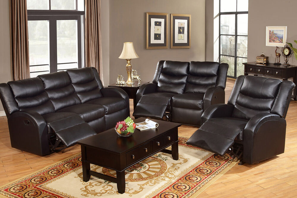 living room 3 pc motion sofa set sofa loveseat recliner black bonded leather set ebay. Black Bedroom Furniture Sets. Home Design Ideas