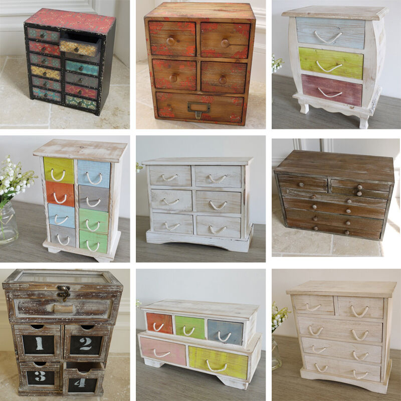 Small Drawer Cabinet Jewellery Box Wooden Storage Boxes Shabby Chic ...