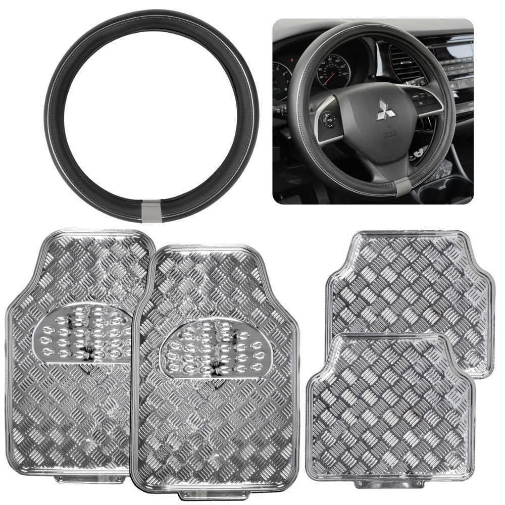 Silver Metallic Design Rubber Car Floor Mats Amp Silver Ring