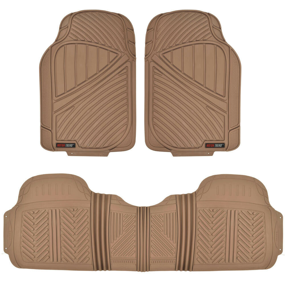 motortrend car floor mat 3 pc heavy duty 100 odorless trimmable beige full set ebay. Black Bedroom Furniture Sets. Home Design Ideas
