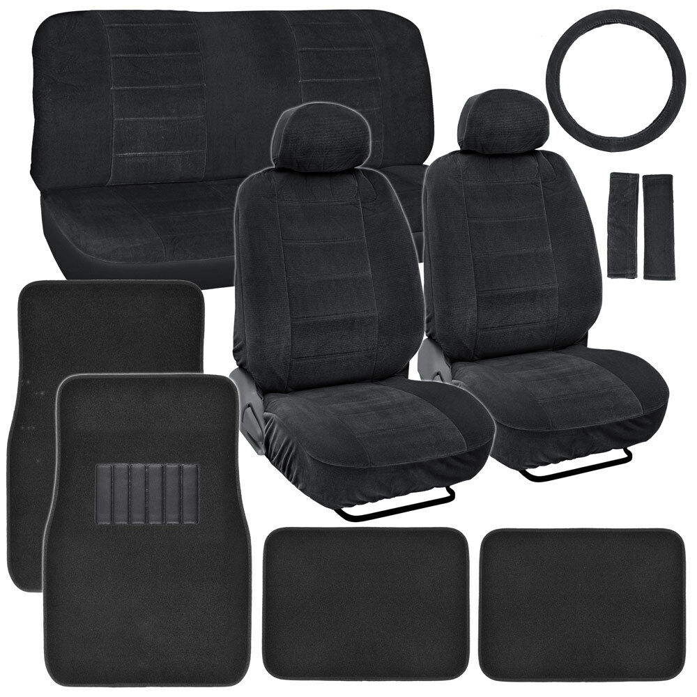 Vintage Auto Seat Covers Set Black Thick Fabric W Black