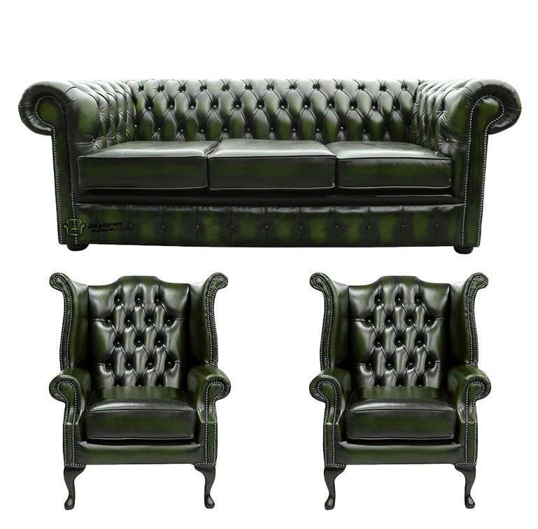 Leather Sofa Suites Uk: Chesterfield 3 Seater+Wing+Wing Chairs Antique Green