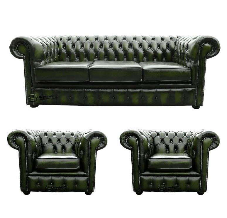 Leather Sofa Suites Uk: Chesterfield 3 Seater+Club+Club Chairs Antique Green