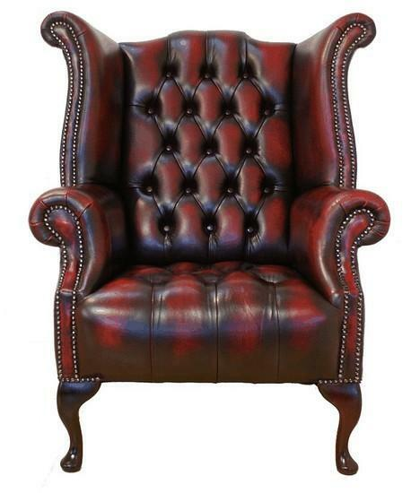 Chesterfield Buttoned Seat Queen Anne High Back Wing Chair