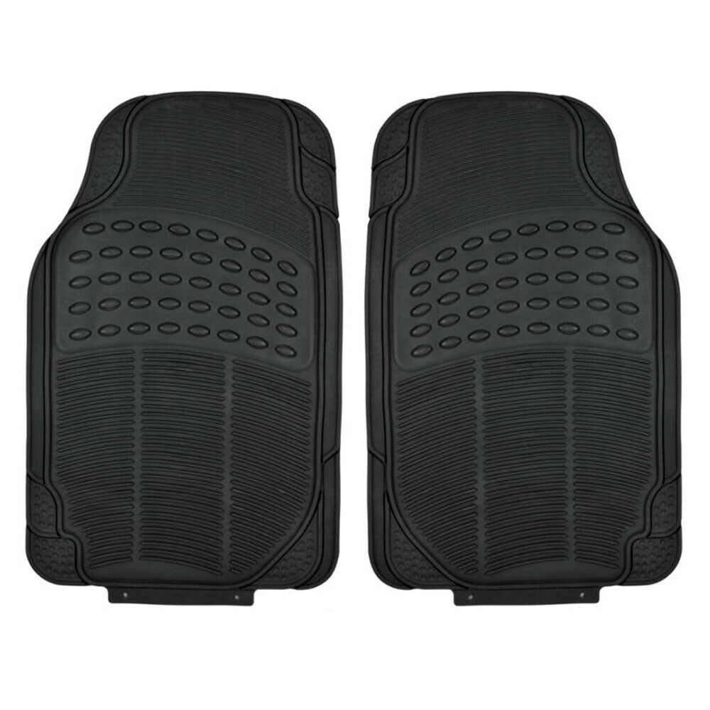 Black Rubber Car Floor Mats Front 2 Piece Set All Weather Protection