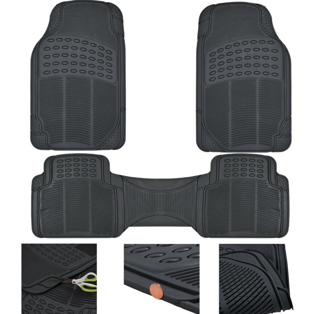 Rubber floor mats for lincoln mkx - Car Floor Mats All Weather Semi Custom Fit Heavy Duty Trimmable Black 3pc Ebay