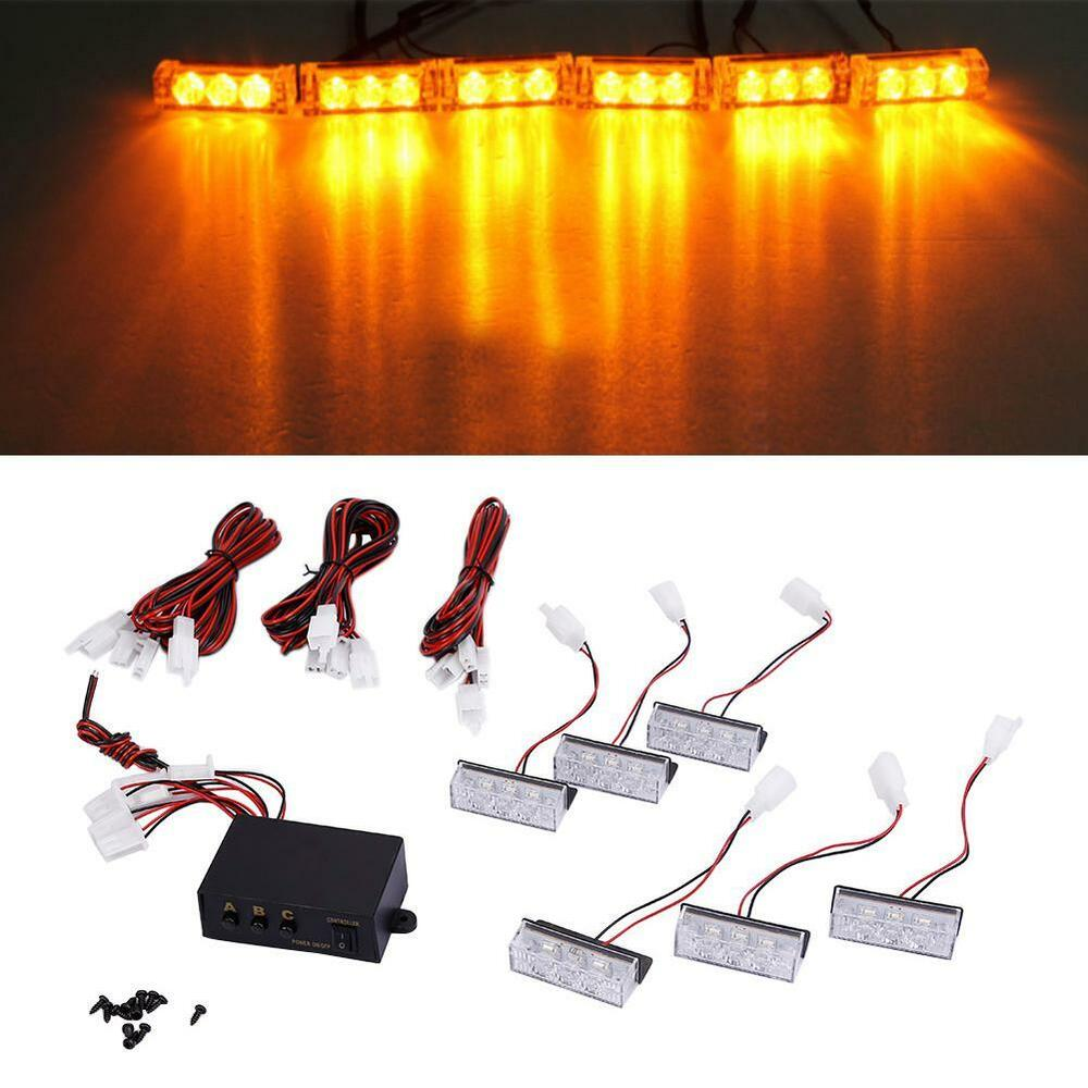 Car 18 led amber strobe emergency flashing police warning for Dc motor light led