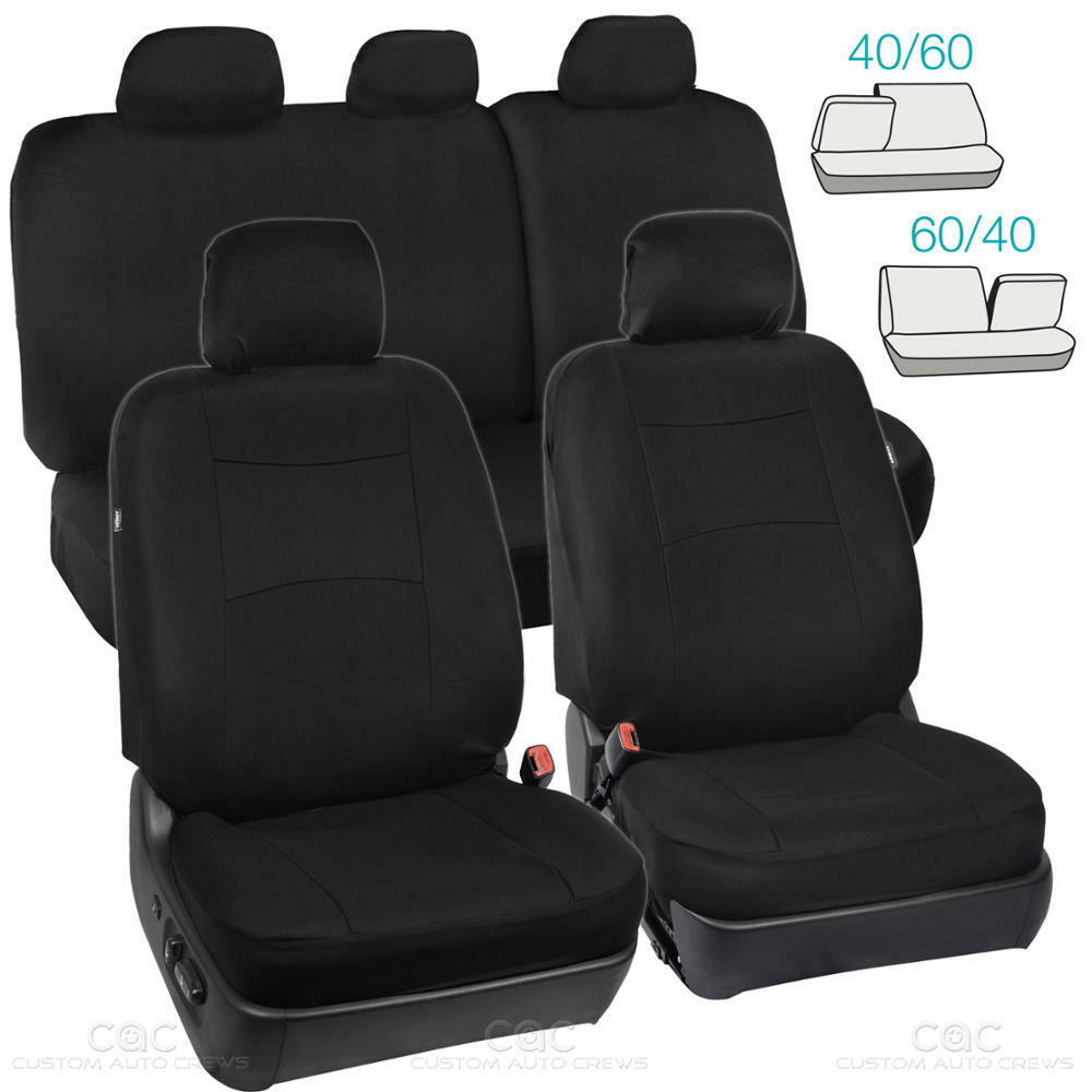 full black car seat covers set 5 headrests 60 40 split bench for auto suv 9pc ebay. Black Bedroom Furniture Sets. Home Design Ideas