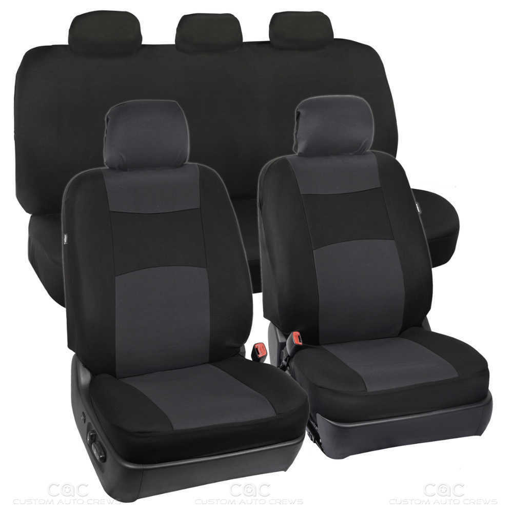 charcoal black car seat covers 5 headrests full solid bench for auto suv 9pc ebay. Black Bedroom Furniture Sets. Home Design Ideas