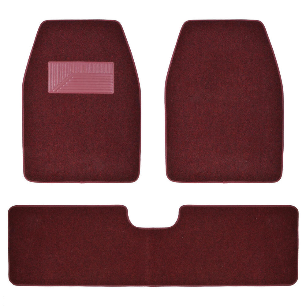 Burgundy Carpet Car Floor Mats For Van Truck Suv 3pc