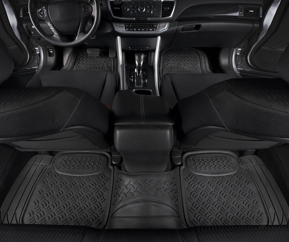 Car Floor Mats For All Weather Heavy Duty Rubber 3 Piece