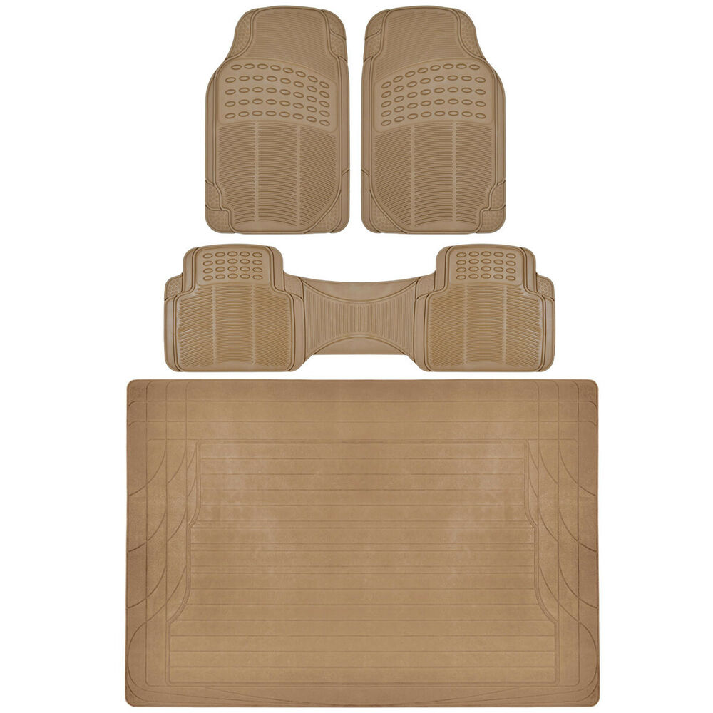 4 Pc Set Auto Floor Mats Car Truck Suv Beige Semi Custom