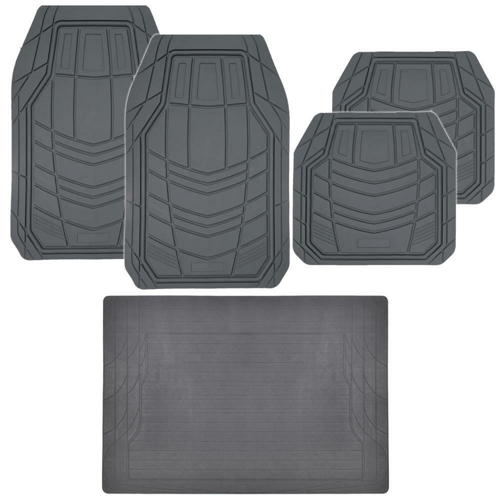 5pc rubber car floor mats trunk liner gray full interior protection ebay. Black Bedroom Furniture Sets. Home Design Ideas