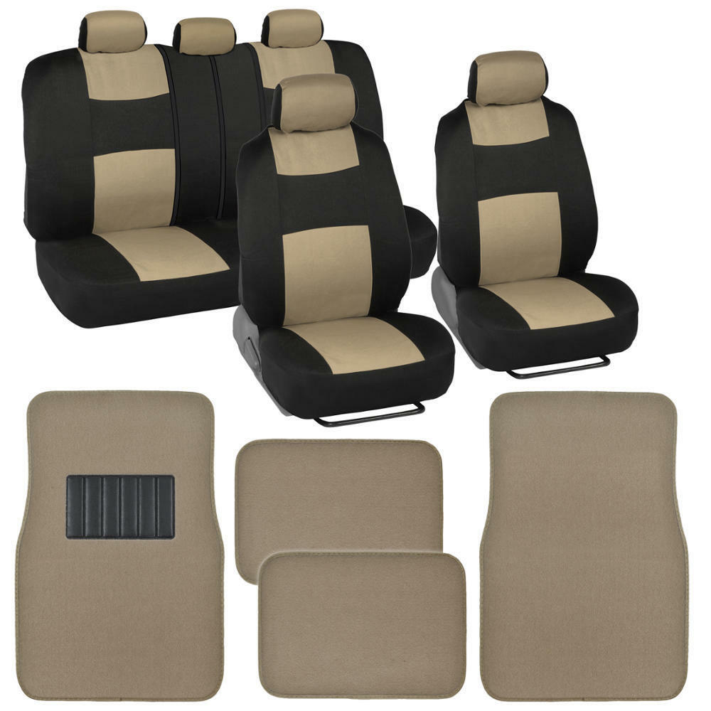 Car Seat Cover Set W/ Carpet Floor Mats For Front & Rear
