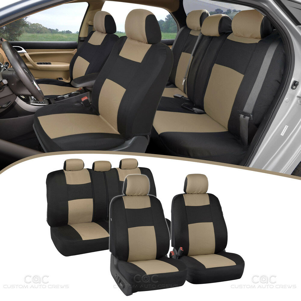 car seat covers front rear split option bench padded flat cloth beige tan ebay. Black Bedroom Furniture Sets. Home Design Ideas