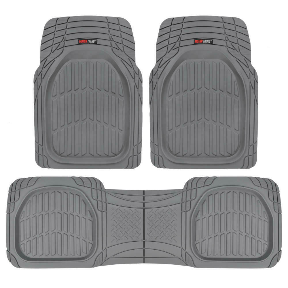 Deep Dish Heavy Duty Rubber Car Floor Mats 3pc Front Rear