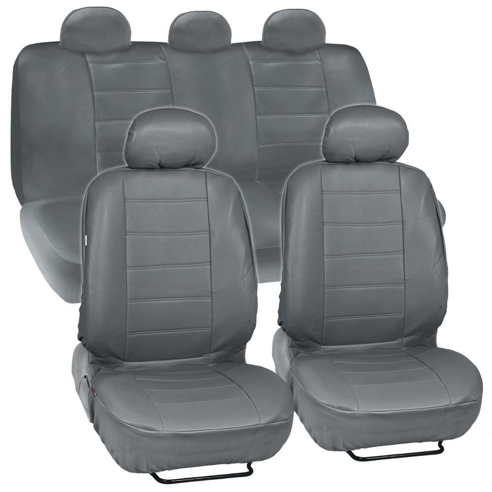 gray synthetic leather set car seat cover genuine leather feel front rear set ebay. Black Bedroom Furniture Sets. Home Design Ideas