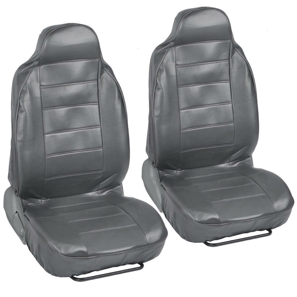 gray pu leather bucket car seat covers grey leather 2pc front pair highback ebay. Black Bedroom Furniture Sets. Home Design Ideas