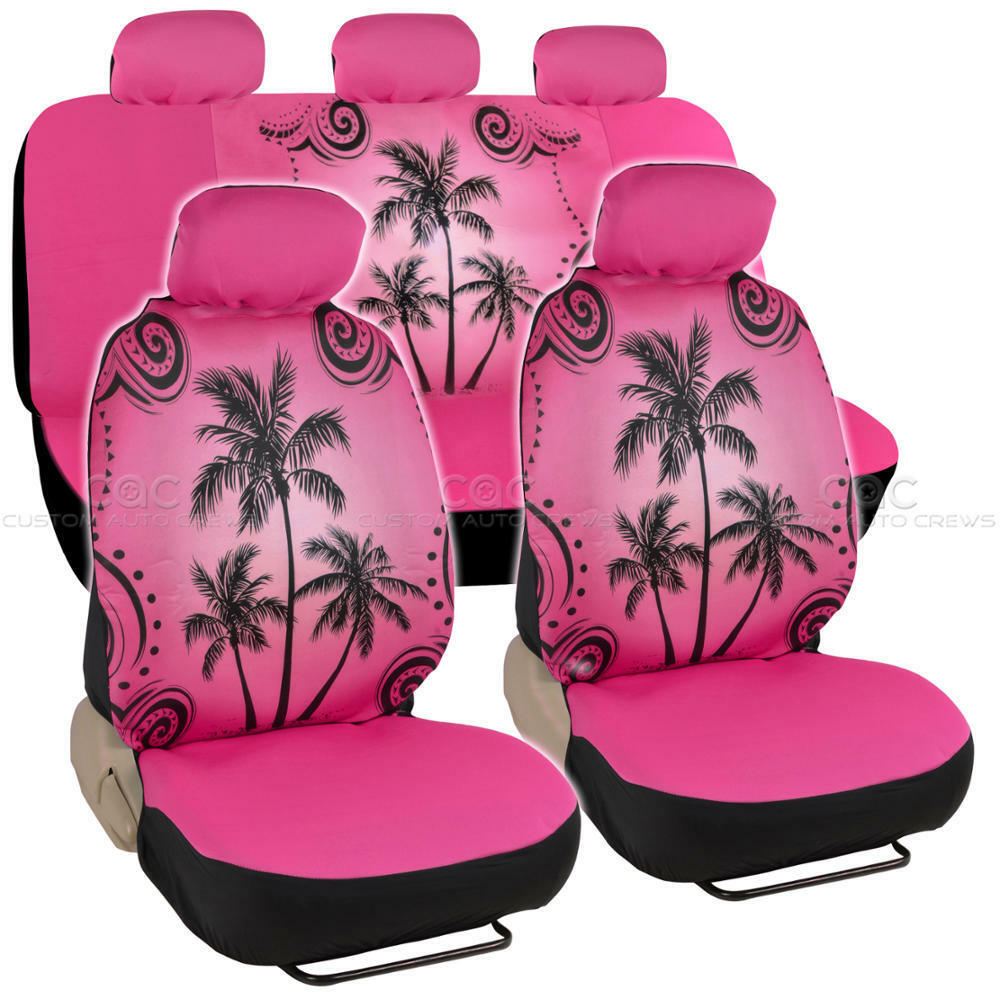 pink palm tree seat cover for car suv front rear set ebay. Black Bedroom Furniture Sets. Home Design Ideas