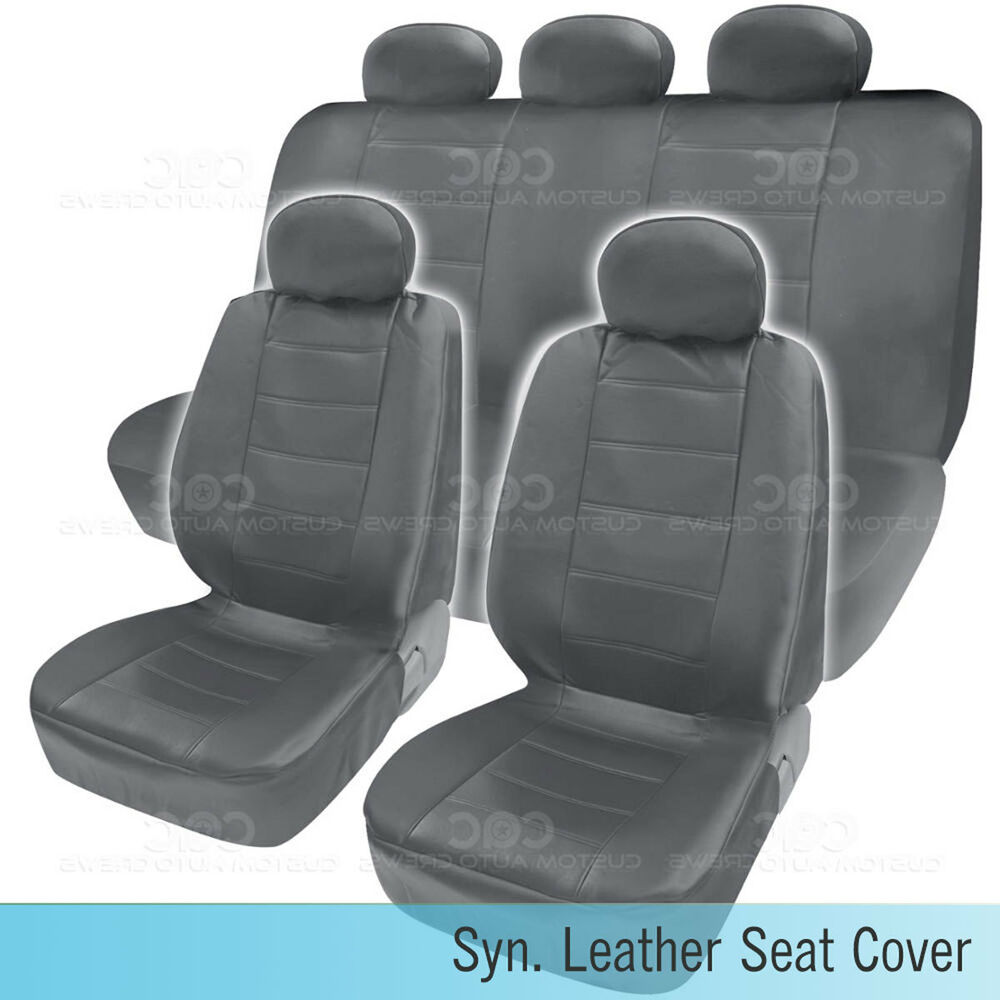 Pu Synthetic Leather Gray Seat Cover Car Genuine Leather