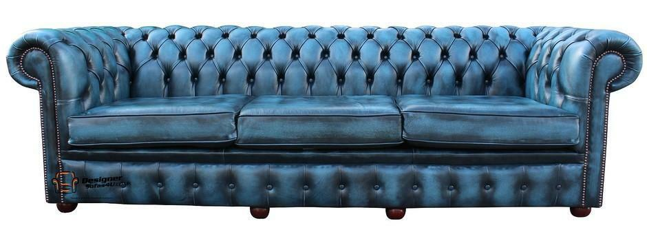 Chesterfield 4 Seater Antique Blue Leather Sofa Settee 3