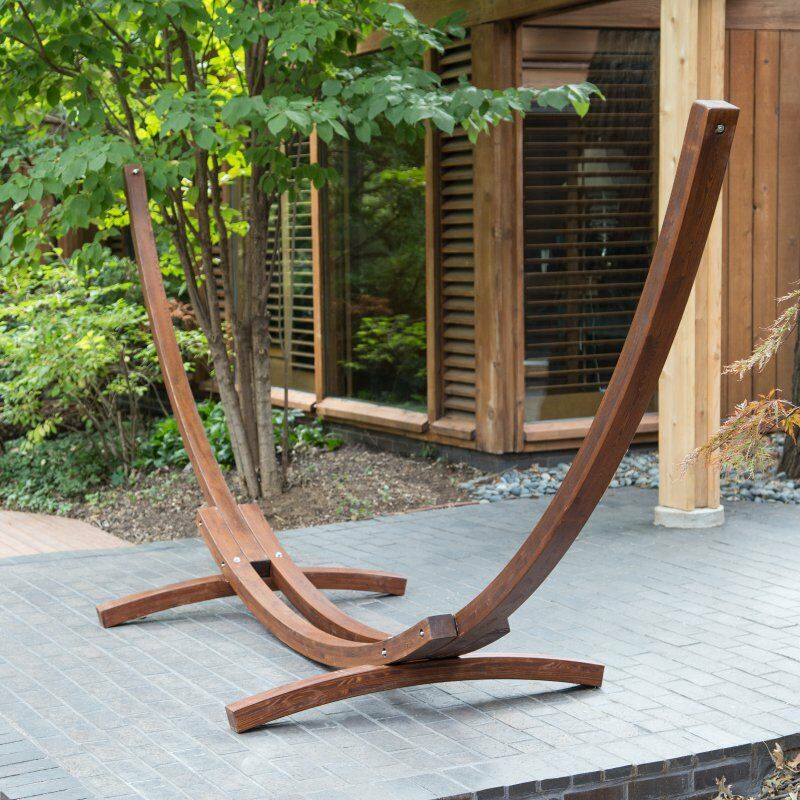 Wooden Hammock Stand Outdoor Brown Curved Arc Wood Patio