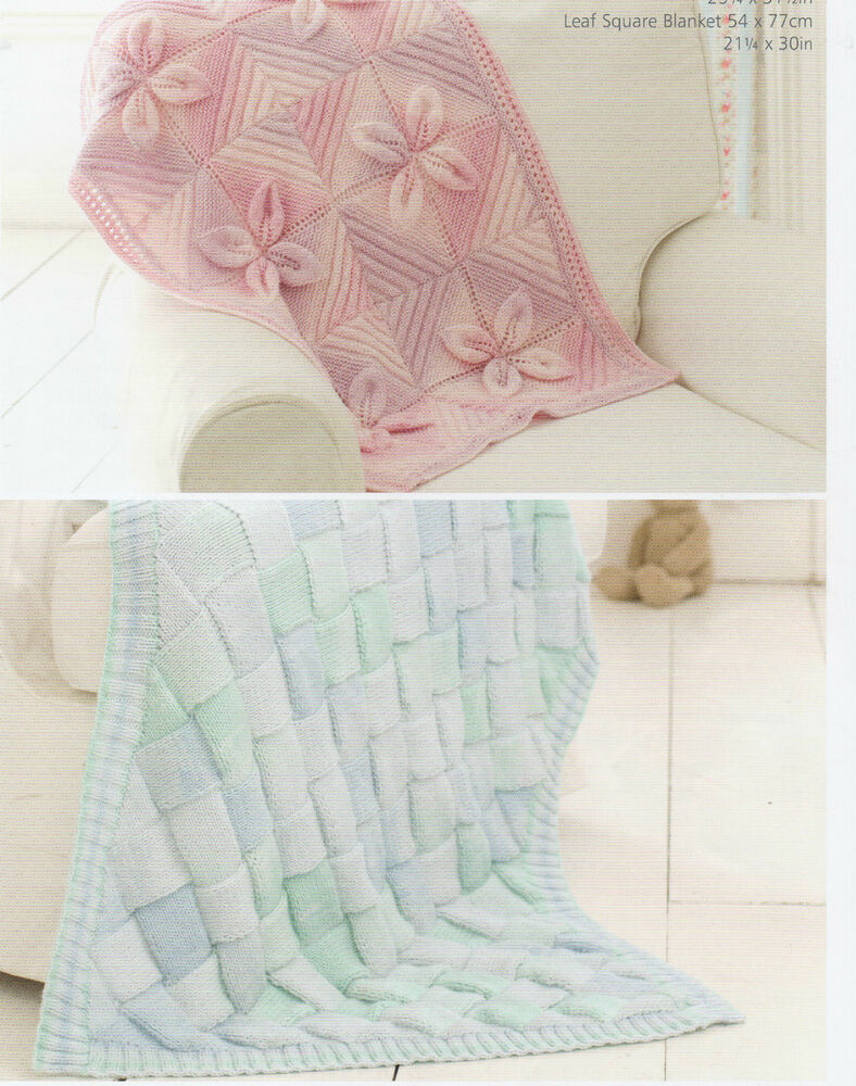 Knitting Pattern For Leaf Design Baby Blanket : Baby Knitting Patterns DK Baby Blanket, Entrelac and Leaf Designs # 50 eBay