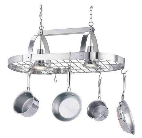 kitchen island pot rack lighting new san savino 2 light 36 quot brushed steel ceiling island 24781