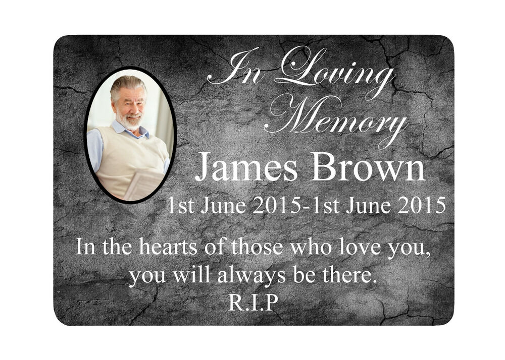 memorial plaque 8 photo metal aluminium sign plaques custom personalised funeral ebay. Black Bedroom Furniture Sets. Home Design Ideas