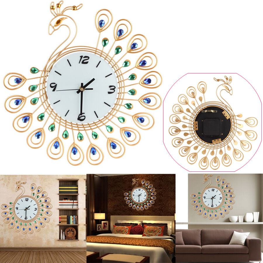 Luxury Diamond Peacock Large Wall Clocks Metal Living Room