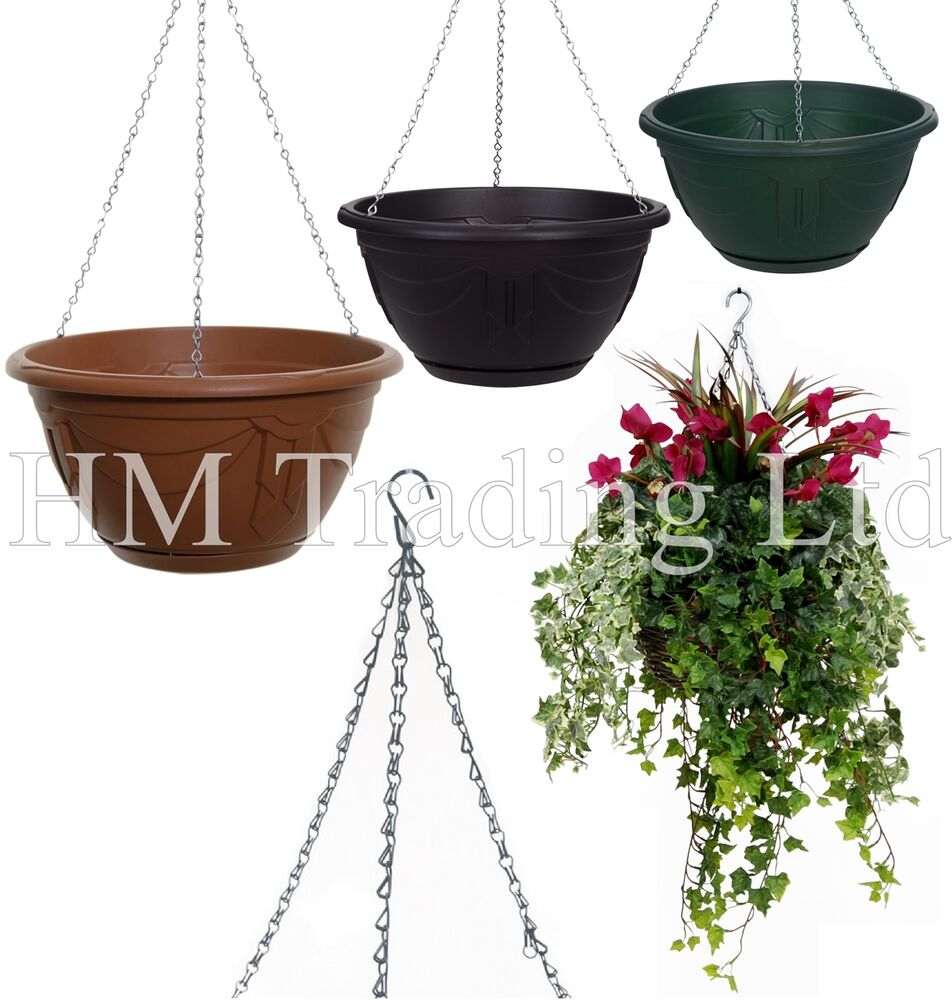 wall fence plastic hanging basket garden plant flower pot. Black Bedroom Furniture Sets. Home Design Ideas
