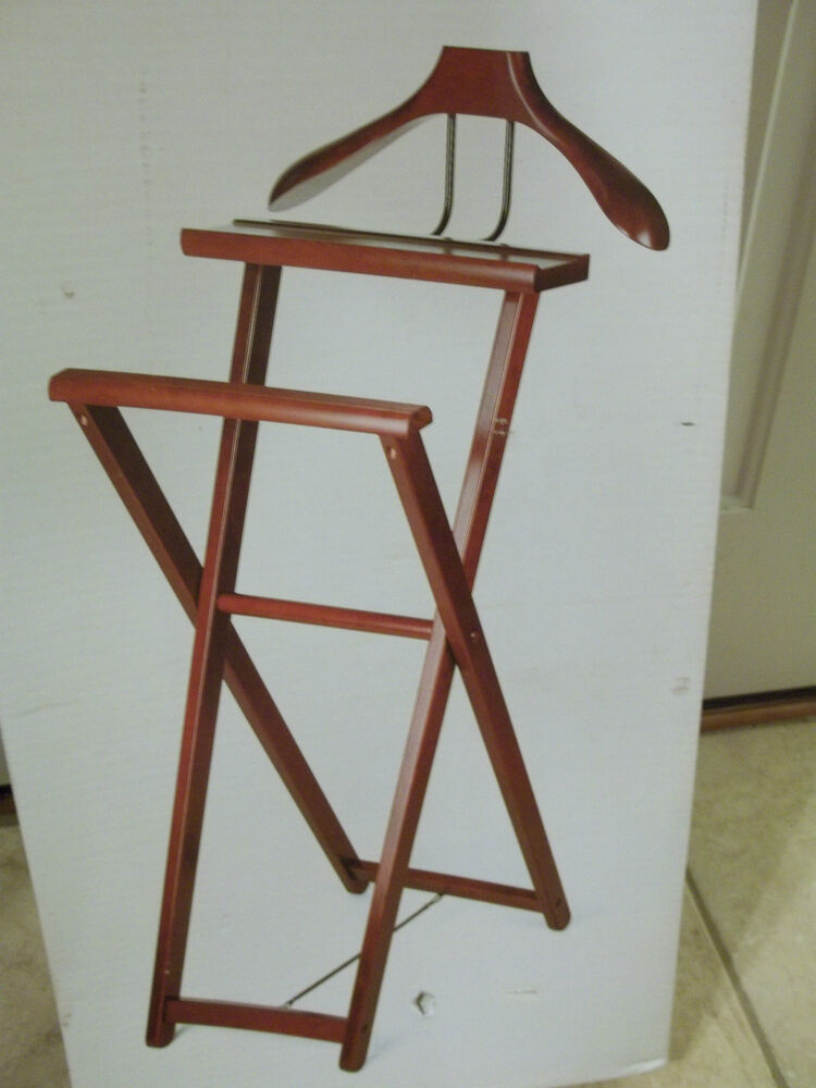 Mens wooden folding valet stand clothing butler new in box