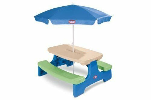 Kids Picnic Table Umbrella Outdoor Play Patio Yard Lawn Porch Toys