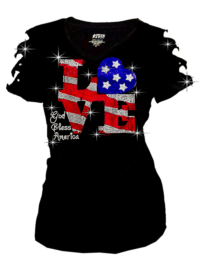 Bling Rhinestones 4th July T Shirt Ripped Slit Cut Out