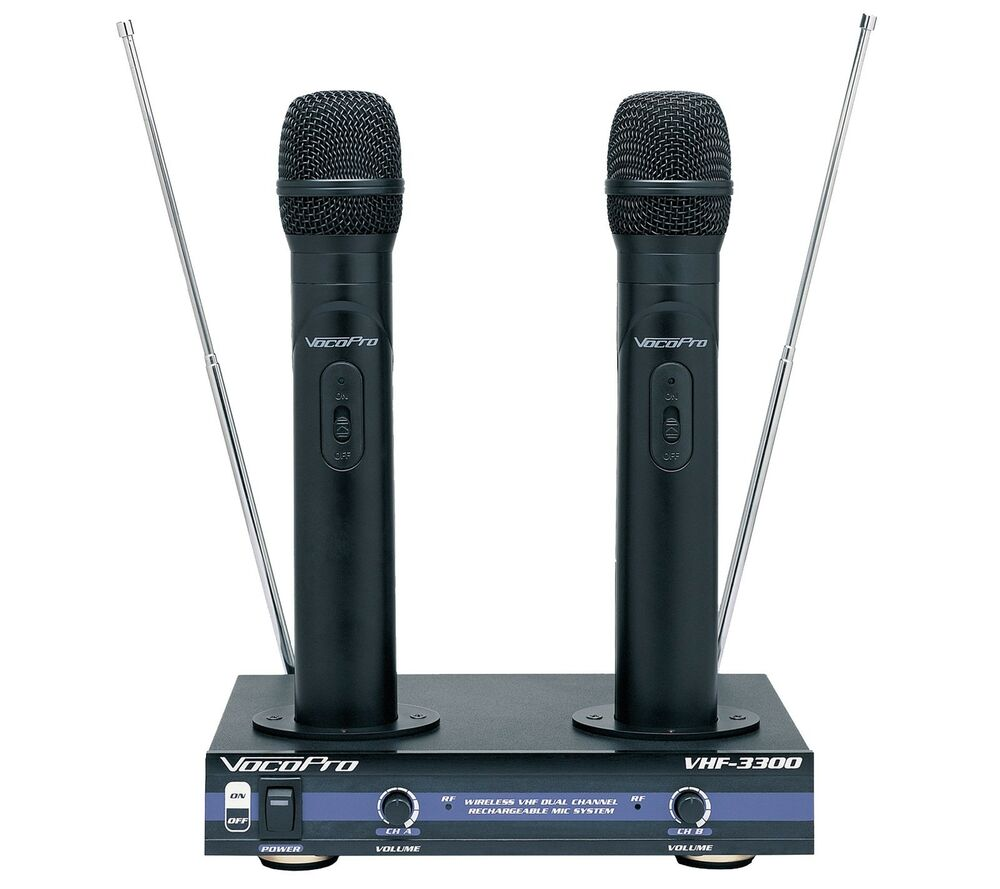 vocopro vhf 3300 dual mic recharge wireless microphone 692868833007 ebay. Black Bedroom Furniture Sets. Home Design Ideas