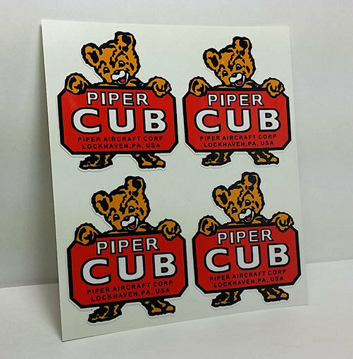 4 Piper Cub Aircraft Co Vintage Style Airplane Decals