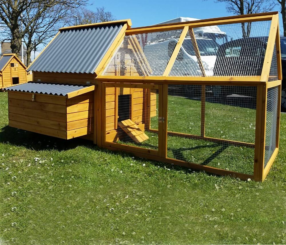 Large chicken coop run hen house poultry nest box coops for Maintenance free chicken coop