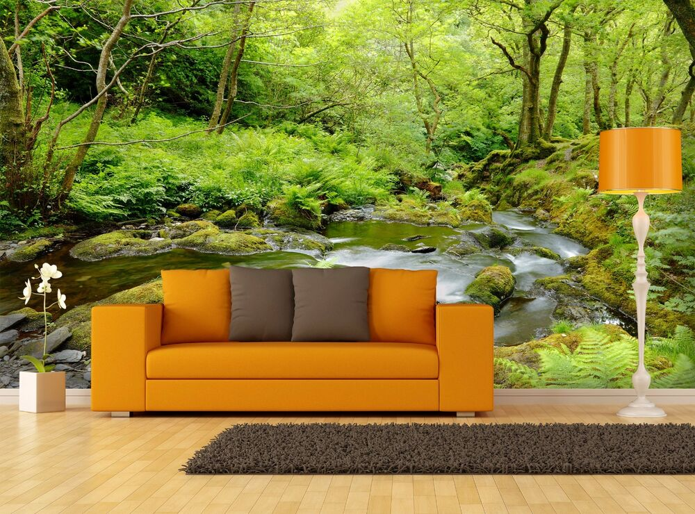 Forest Stream Landscape 3D Mural Photo Wallpaper Decor
